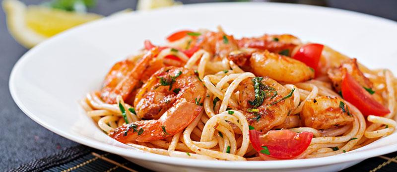 اسپاگتی با میگو
